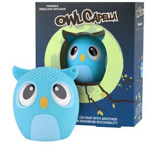 My Audio Pet OWLcapella Wireless Bluetooth Speaker with True Wireless Stereo Blue Owl with tree branch and moonscape night scene box
