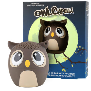 My Audio Pet OWLcapella Wireless Bluetooth Speaker with True Wireless Stereo Brown Owl with tree branch and moonscape night scene box