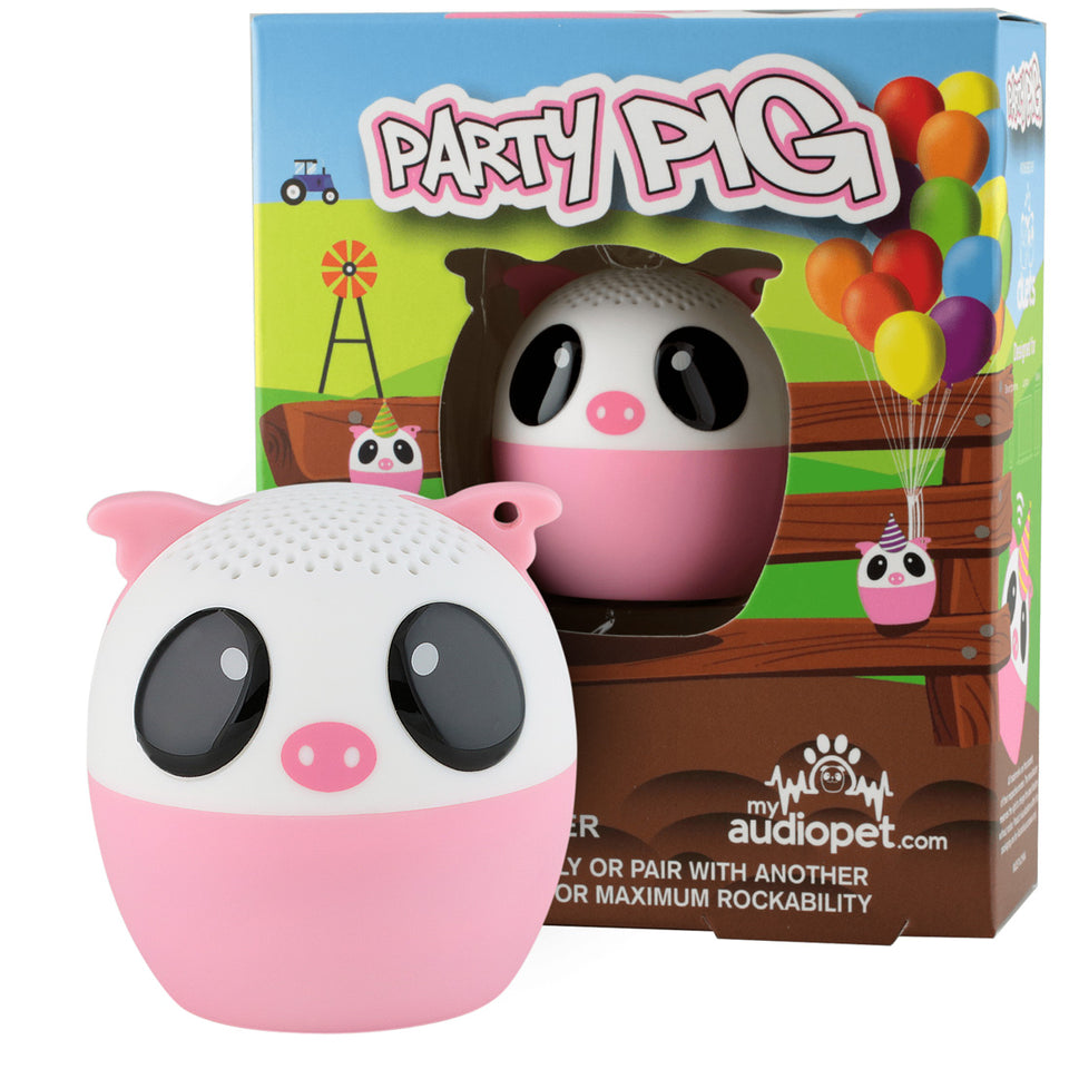 My Audio Pet Party Pig Wireless Bluetooth Speaker with True Wireless Stereo Pig with farmyard pig pen balloon disco ball hay bail box