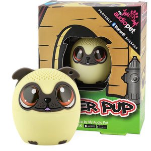 My Audio Pet Power Pup Wireless Bluetooth Speaker with True Wireless Stereo Pug