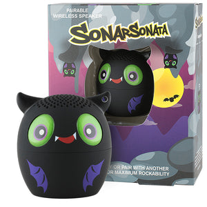 My Audio Pet Sonar Sonata Wireless Bluetooth Speaker with True Wireless Stereo Bat with bat cave, moon, silhouetted bat and other hanging bats box