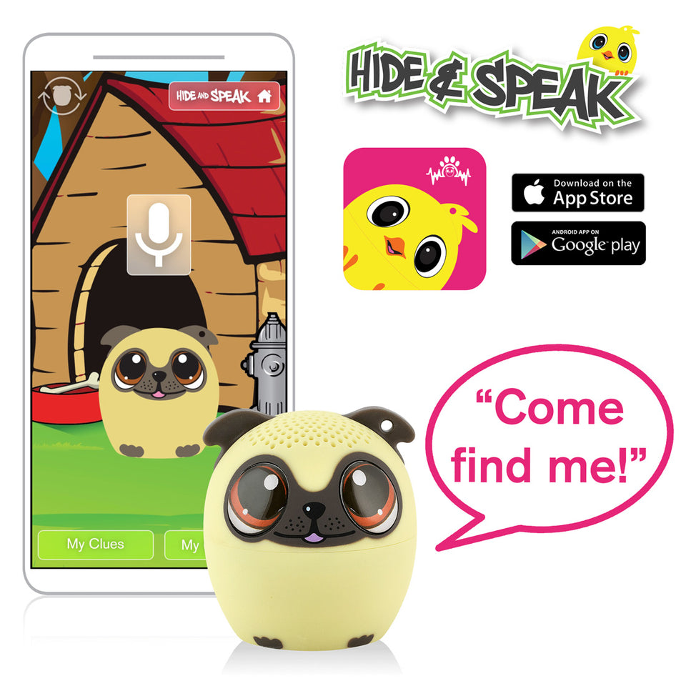 My Audio Pet Power Pup Wireless Bluetooth Speaker with True Wireless Stereo Hide & Speak App available iTunes Google Play