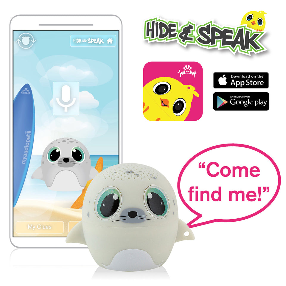 My Audio Pet SEALebration Wireless Bluetooth Speaker with True Wireless Stereo Hide & Speak App available iTunes Google Play