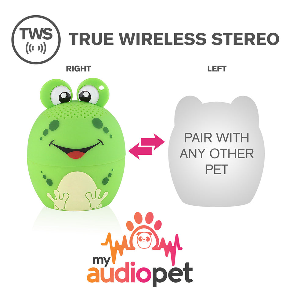 New My Audio Pet Pairable Mini Bluetooth Speaker AMPEDphibian