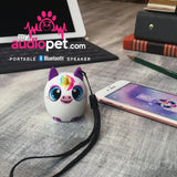 My Audio Pet UniChord Wireless Bluetooth Speaker with True Wireless Stereo Unicorn on lanyard, helping with School!