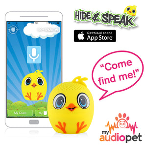 My Audio Pet Chick-a-dee-doo-dah Wireless Bluetooth Speaker with True Wireless Stereo Hide & Speak App available iTunes Google Play