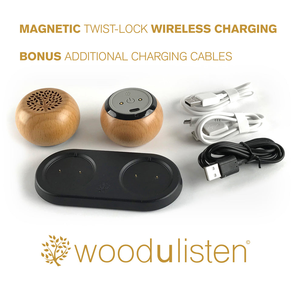 Woodulisten Natural Stereo Set with Charging Dock