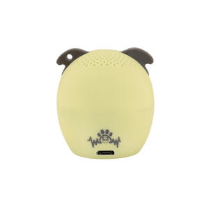 My Audio Pet Power Pup Wireless Bluetooth Speaker with True Wireless Stereo Pug logo brand back side