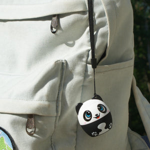 My Audio Pet Pandamonium Wireless Bluetooth Speaker with True Wireless Stereo Panda hanging with supplied lanyard on a cool backpack