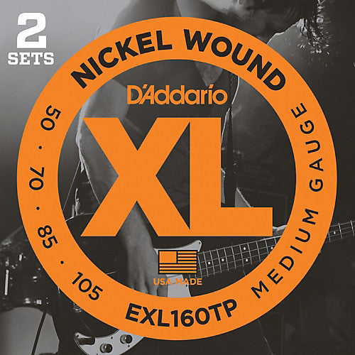 D'Addario EXL160TP Medium Nickel Wound Bass Strings (50-105) 2 Sets