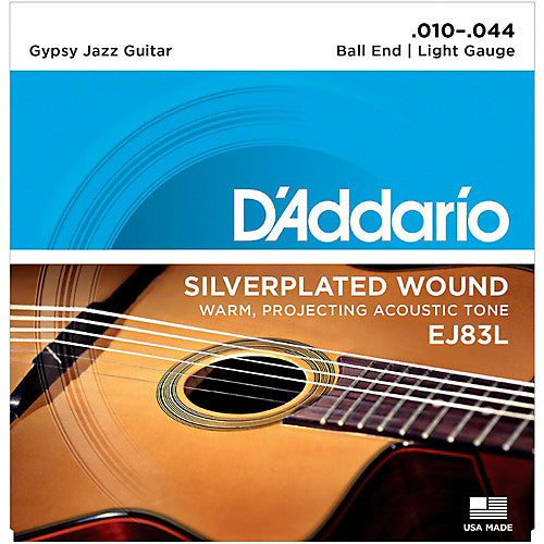D'Addario EJ83L Light Gypsy Jazz Silver Wound Ball End Acoustic Guitar Strings (10-44)