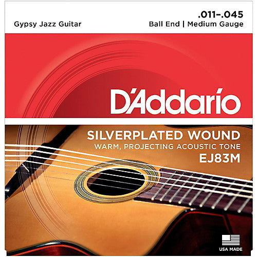 D'Addario EJ83M Medium Gypsy Jazz Silver Wound Ball End Acoustic Guitar Strings (11-45)