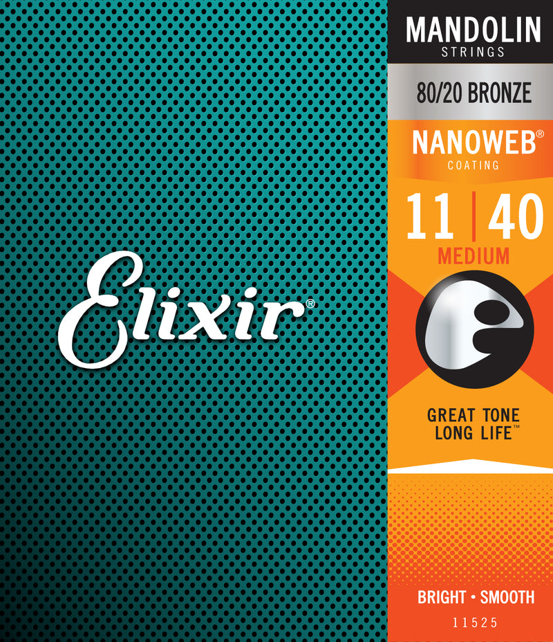 Elixir 11525 Medium NanoWeb Mandolin Strings (11-40)