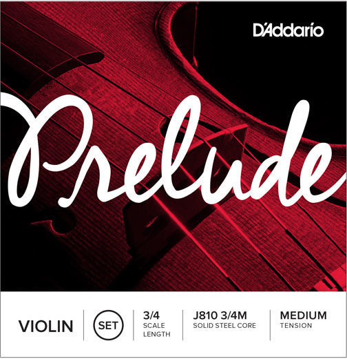 D'Addario Prelude J810 3/4M 3/4 Scale Medium Ball End Violin Strings Set