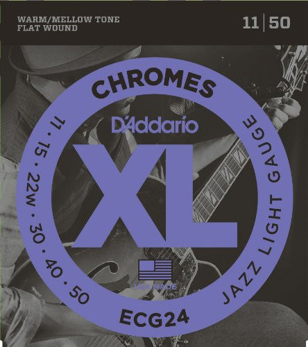 D'Addario ECG24 XL Chromes Jazz Light Flat Wound Electric Guitar Strings (11-50)