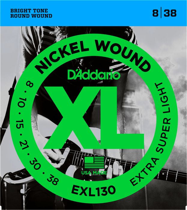 D'Addario EXL130 Extra Super Light Nickel Wound Electric Guitar Strings (8-38)