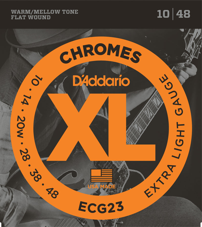 D'Addario ECG23 XL Chromes Extra Light Flat Wound Electric Guitar Strings (10-48)