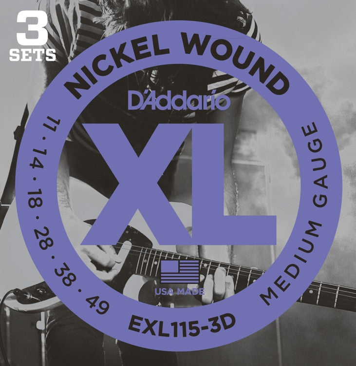 D'Addario EXL115-3D Medium Nickel Wound Electric Guitar Strings (11-49) 3 Sets
