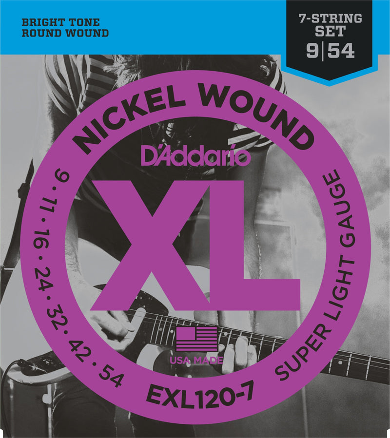 D'Addario EXL120-7 7-String Super Light Nickel Wound Electric Guitar Strings (9-54)