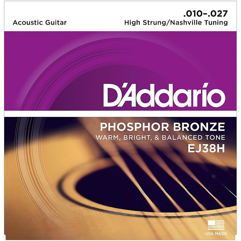 D'Addario EJ38H High Strung/Nashville Tuning Phosphor Bronze Acoustic Guitar Strings (10-27)
