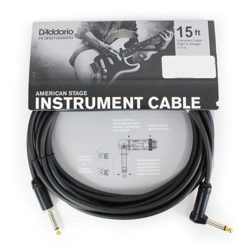 D'Addario Planet Waves PW-AMSGRA-15 American Stage Instrument Cable Right To Straight 15ft/4.5M