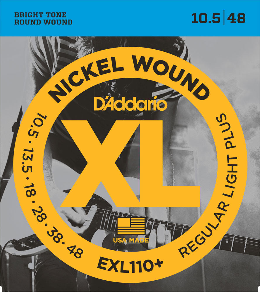 D'Addario EXL110+ Regular Light Plus Nickel Wound Electric Guitar Strings (10.5-48)