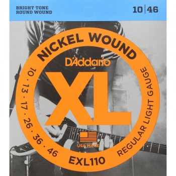 D'Addario EXL110 Regular Light Nickel Wound Electric Guitar Strings (10-46)