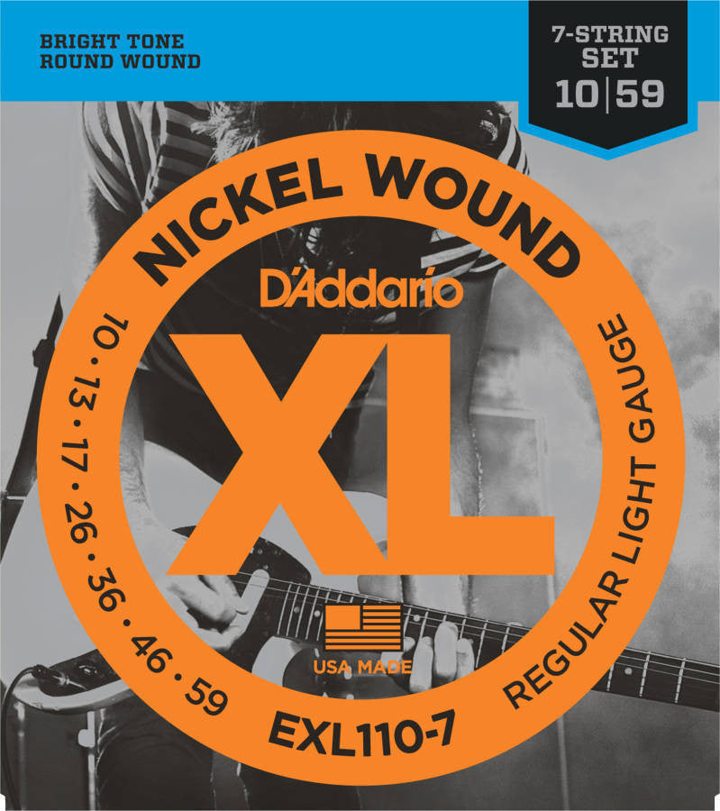 D'Addario EXL110-7 7-String Regular Light Nickel Wound Electric Guitar Strings (10-59)