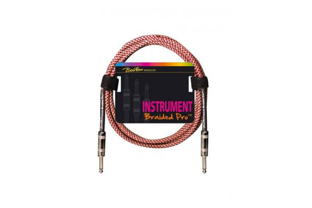 Boston Pro Instrument Cable Red Braid 3m