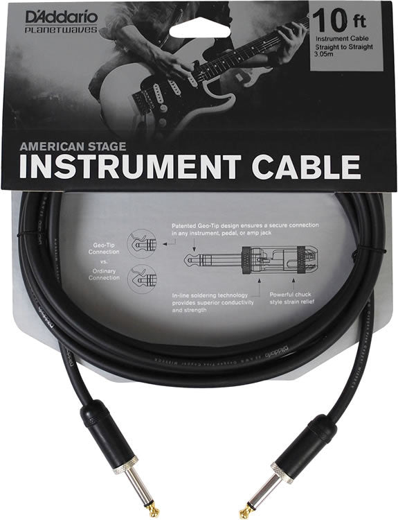 D'Addario Planet Waves PW-AMSG-10 American Stage Instrument Cable 10ft/3M
