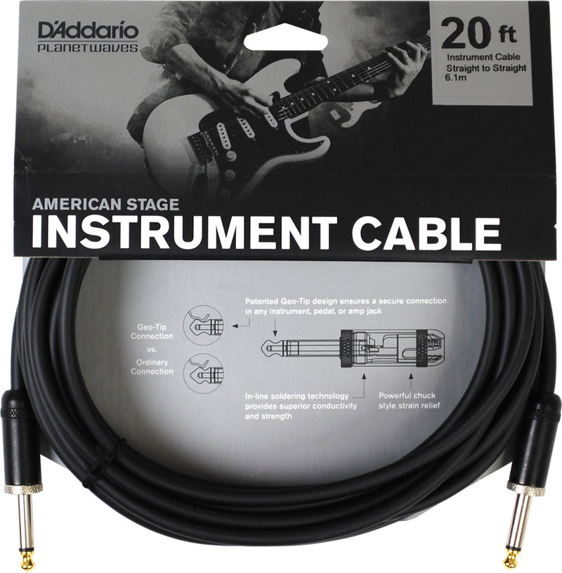 D'Addario Planet Waves PW-AMSG-20 American Stage Instrument Cable 20ft/6M