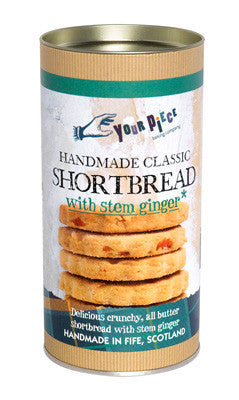 Classic Shortbread with Stem Ginger Gift Tube 250g
