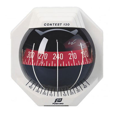 17294 - CONTEST 130 COMPASS - VERTICAL MOUNT - WHITE COMPASS WITH RED CARD-PLASTIMO