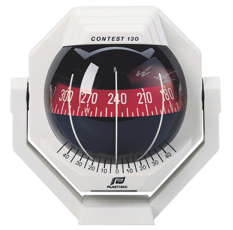 17295 - CONTEST 130 COMPASS - BRACKET MOUNT  - WHITE COMPASS WITH RED CARD - PLASTIMO