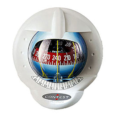 25487 - CONTEST 101 COMPASS- MOUNT INCLINED 10 TO 25 DEGREES-WHITE COMPASS WITH RED CARD- PLASTIMO