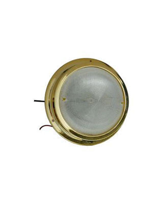 "2627 - LED - 6"" DOME LIGHT - PLASTIC GOLD WITH SWITCH - COOL WHITE"