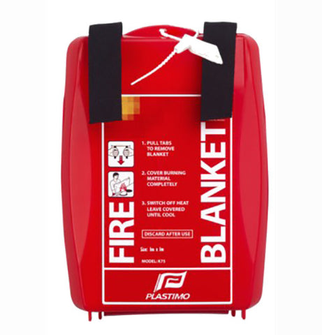 39816 - FIRE BLANKET – FIBERGLASS FIRE BLANKET IN RIGID ABS CONTAINER. PLASTIMO