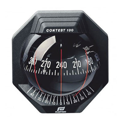 40034 - CONTEST 130 COMPASS - INCLINED MOUNT - BLACK BEZEL WITH BLACK CARD - PLASTIMO