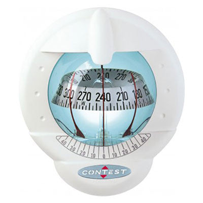51006 - CONTEST 101 COMPASS- MOUNT INCLINED 10 TO 25 DEGREES-WHITE COMPASS WITH WHITE CARD- PLASTIMO