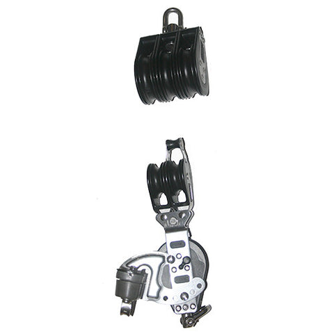 92772-230   6:1 Mainsheet blocks set - Ratchet -Aluminum cam cleat and central aluminum sheave.