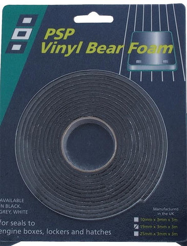 "Single Sided Vinyl Bear Foam tape - 25mm ~ 1"" - Black - PSP Tapes"