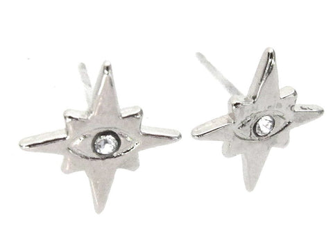 Mini Evil Eye Stud Earrings - Crystal