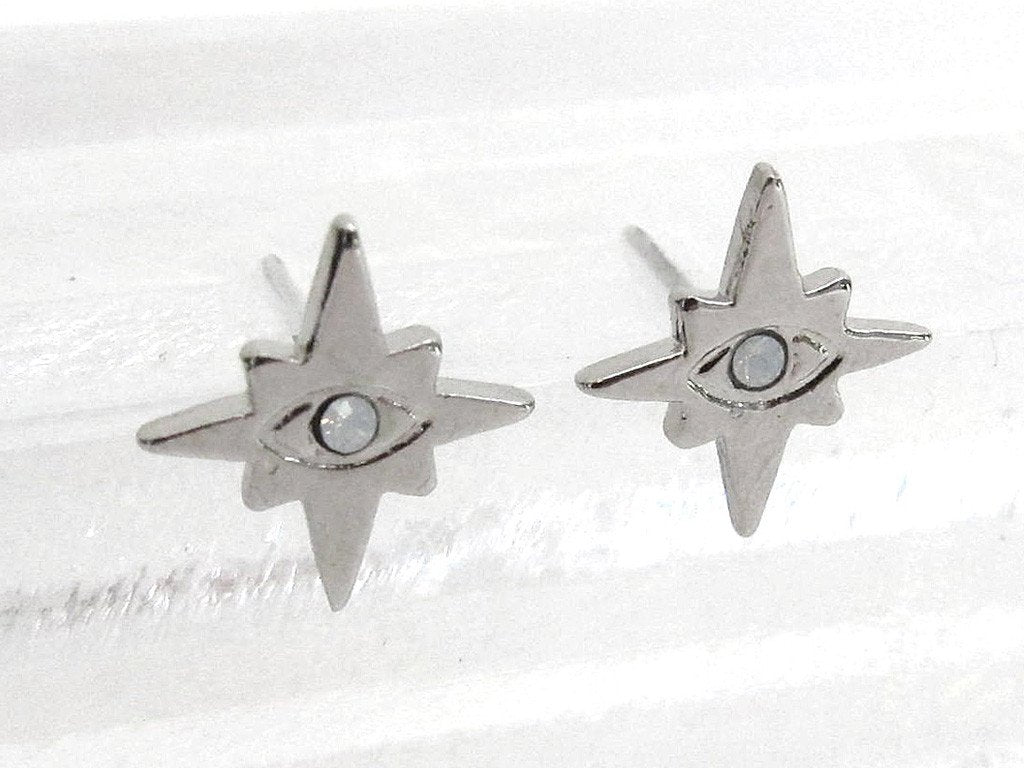 Mini Evil Eye Stud Earrings - White Opal