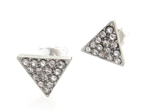 Swarovski Triangle Stud Earrings - Crystal