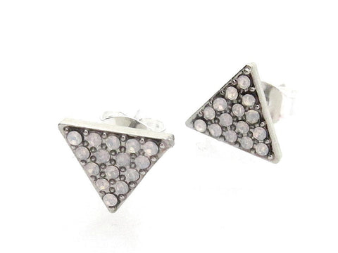Swarovski Triangle Stud Earrings - White Opal