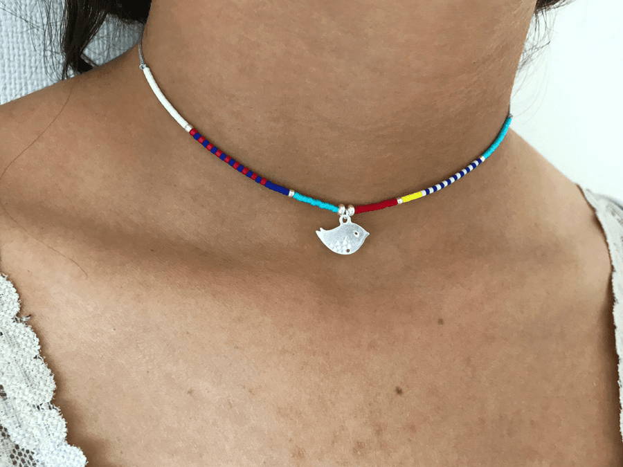 Collar ajustable Mini Bird - Plata