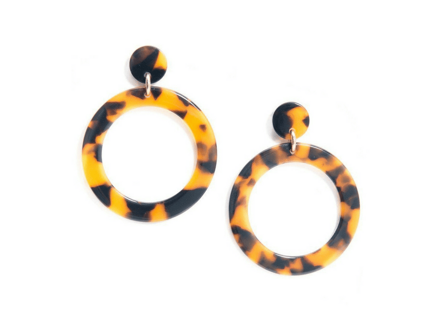 Camila Resin Earrings - Black/Brown