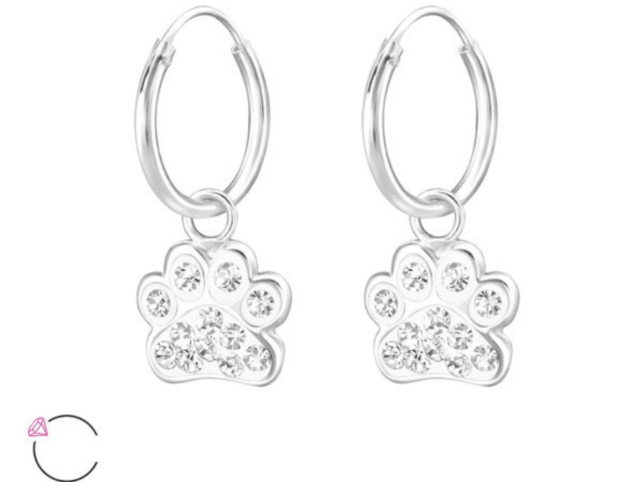 Aros Paw Print Hoops - Cristal