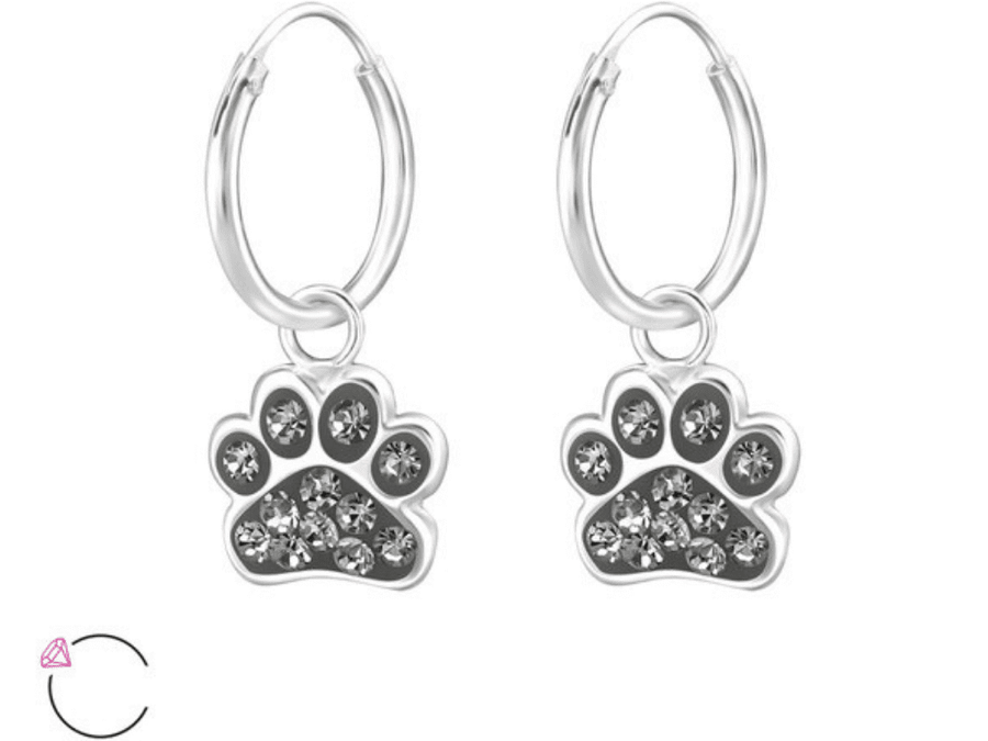 Aros Paw Print Hoops - Black Diamond