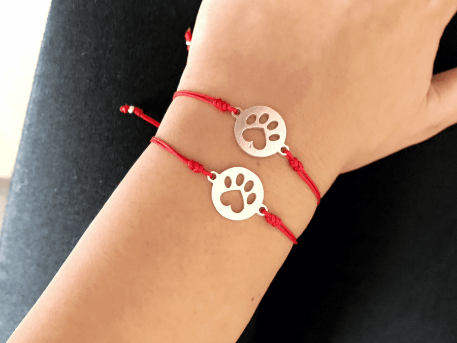 Pulsera Love Paw Plata - Red